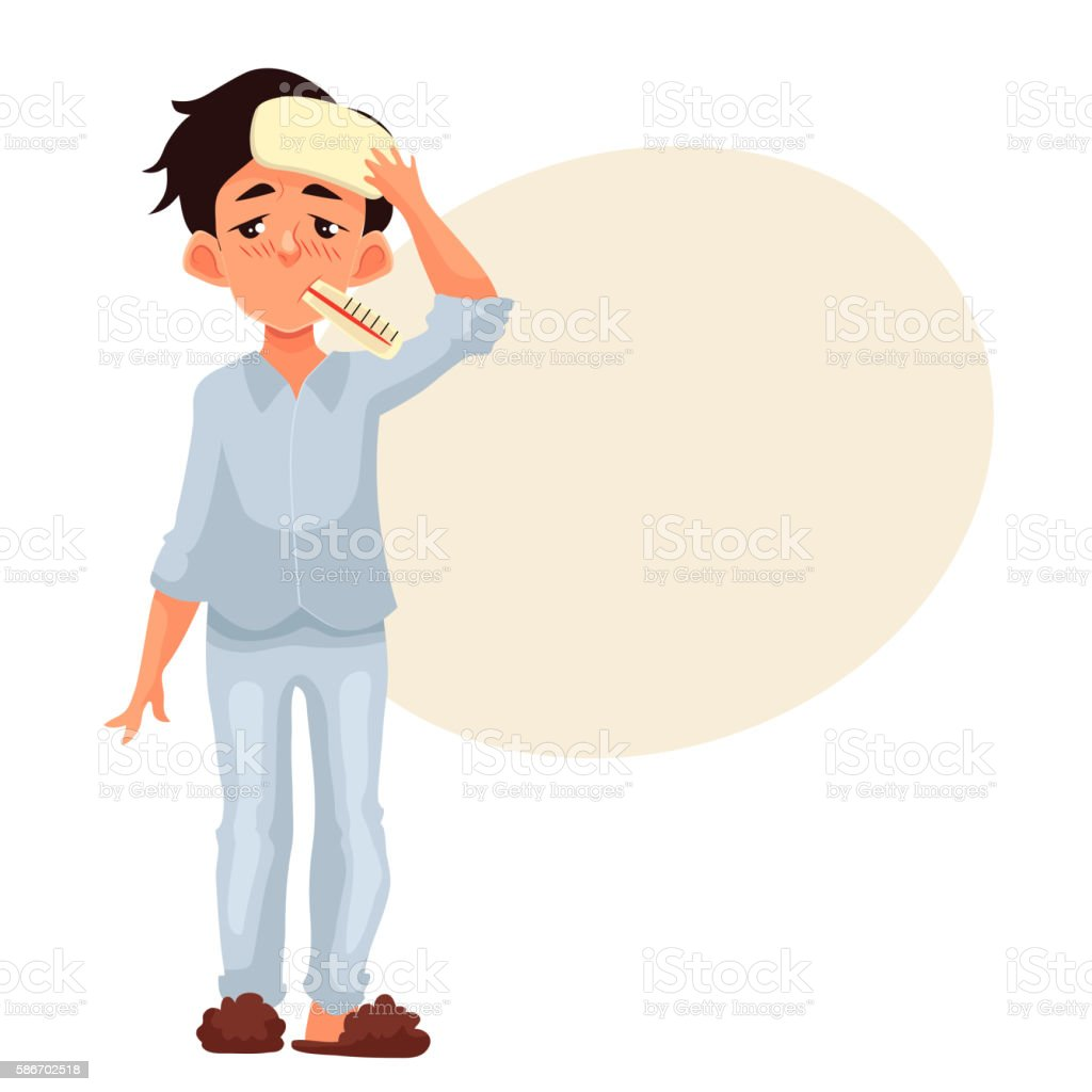 Little boy having cold with thermometer in his mouth vector art illustration