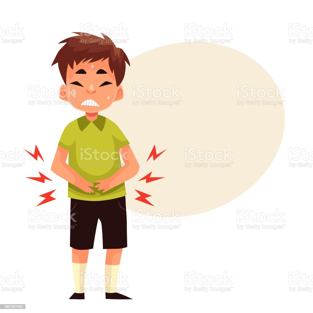 Little boy having stomach ache vector art illustration