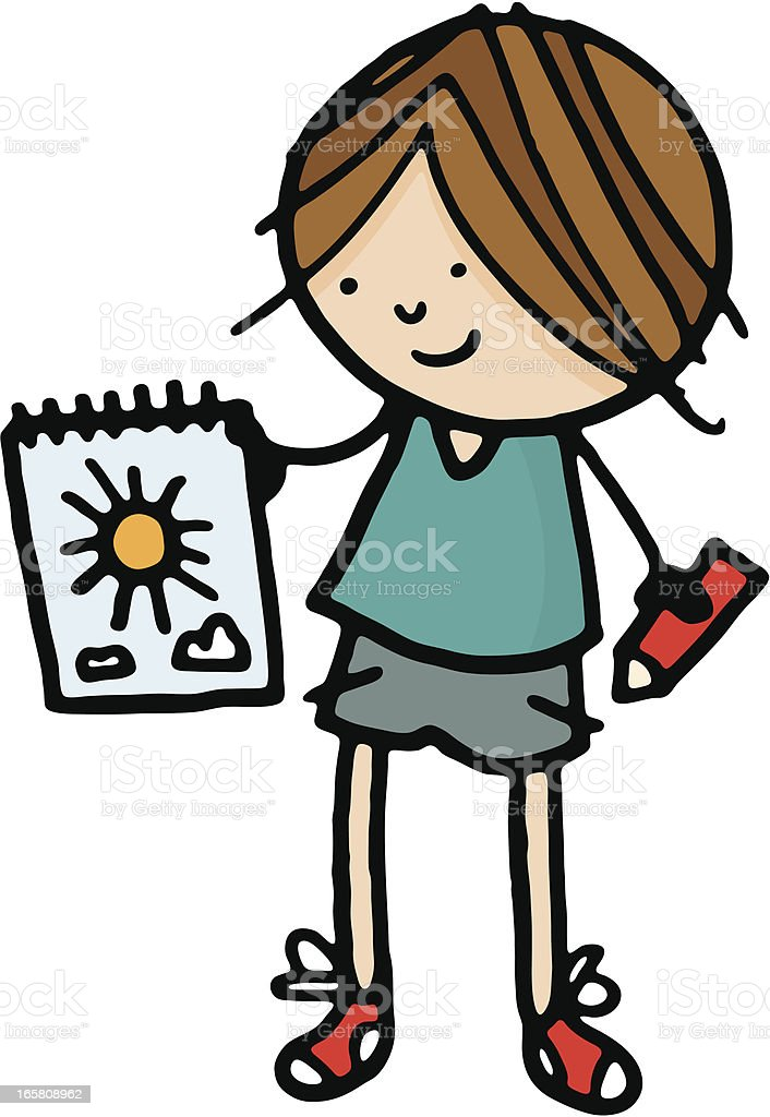 Little boy holding a drawing of sun and clouds royalty-free stock vector art