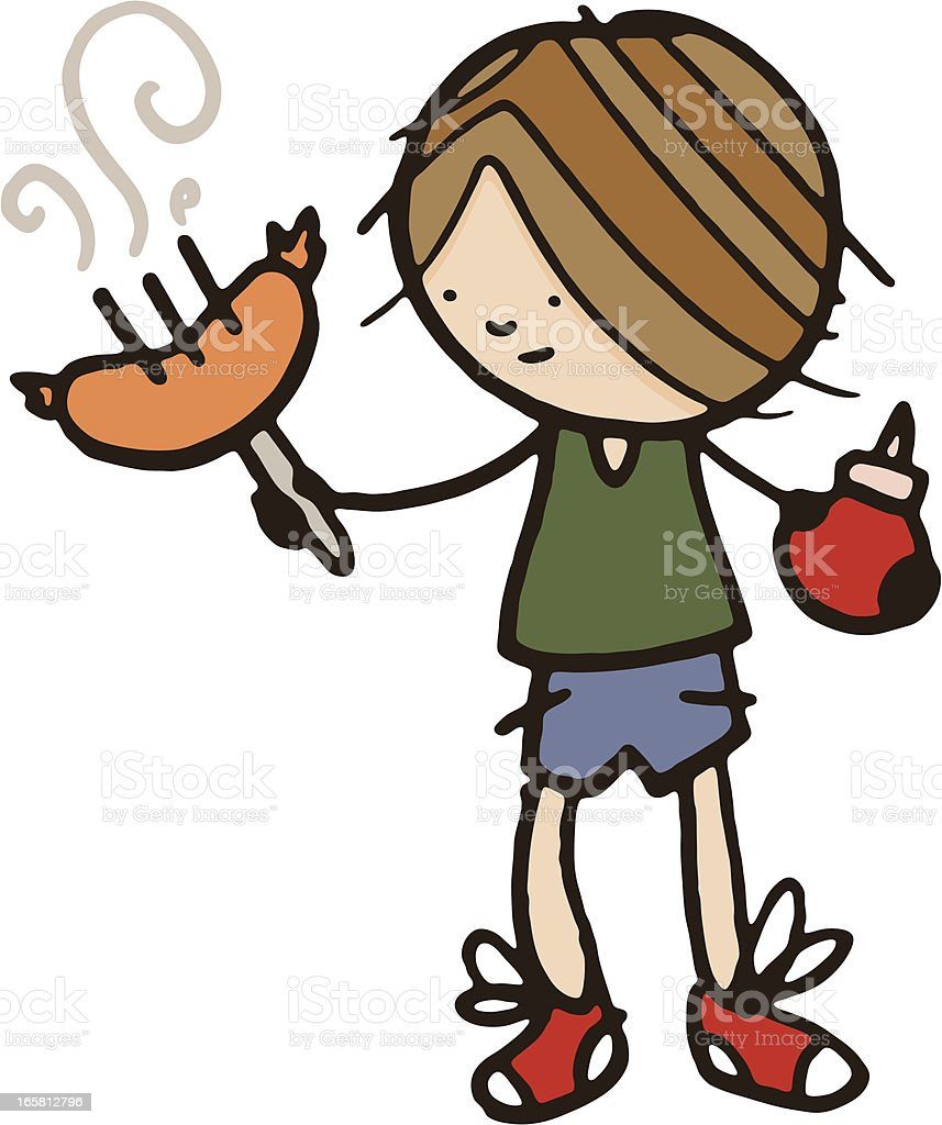 Little boy holding a sausage on fork with tomato ketchup royalty-free stock vector art