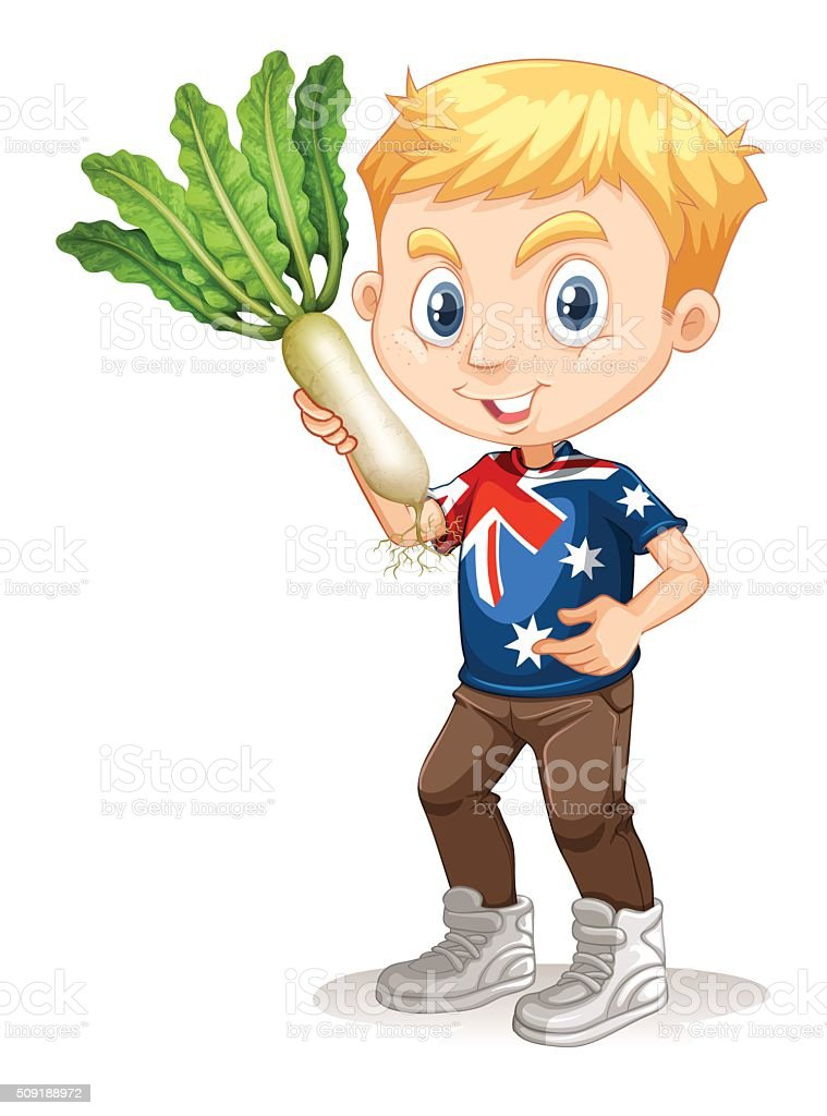 Little boy holding white radish vector art illustration