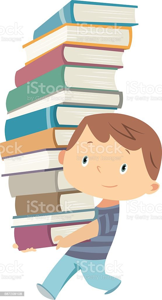 Little boy is carrying a big pile of books vector art illustration