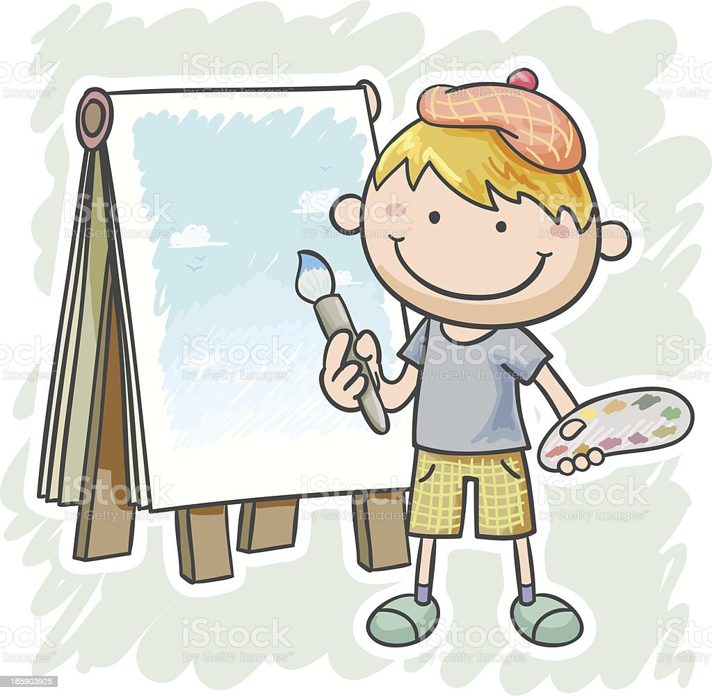 Little boy is going to draw a picture vector art illustration