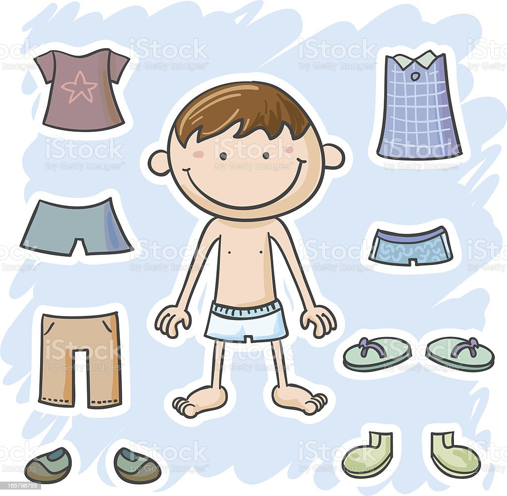 Little boy is going to dressing up royalty-free stock vector art