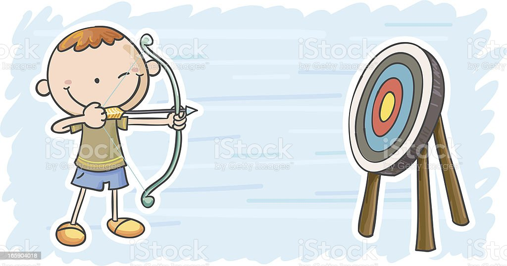 Little boy is playing target shooting vector art illustration