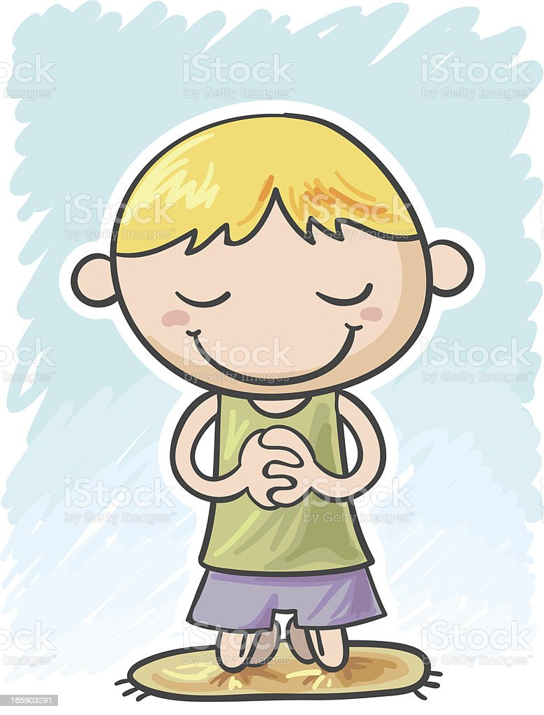 Little boy is praying royalty-free stock vector art