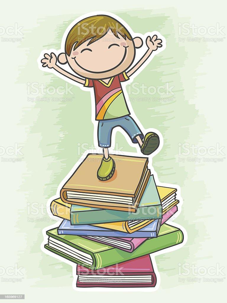 Little boy loves reading so much royalty-free stock vector art