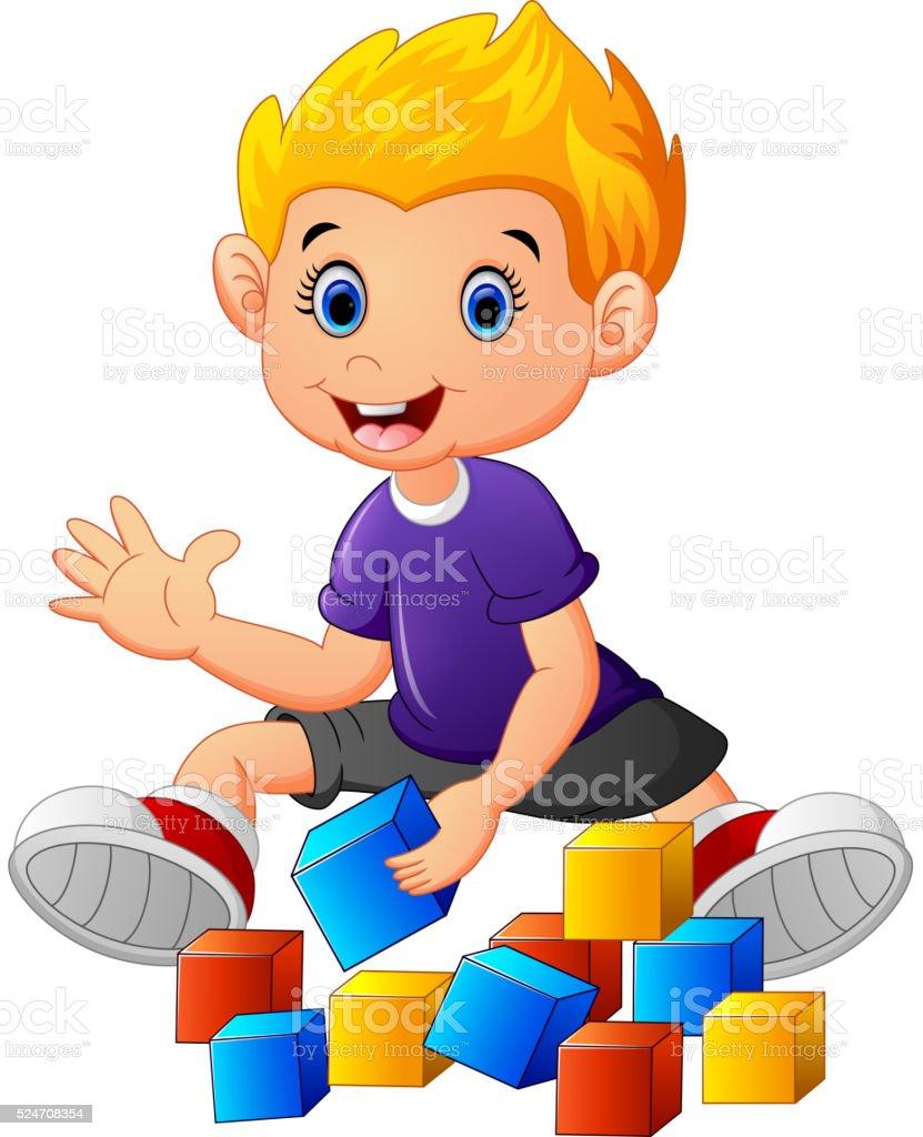 little boy play bricks vector art illustration