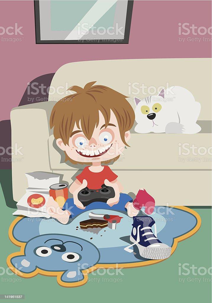 Petit garçon jouant sur une console de jeux stock vecteur libres de droits libre de droits