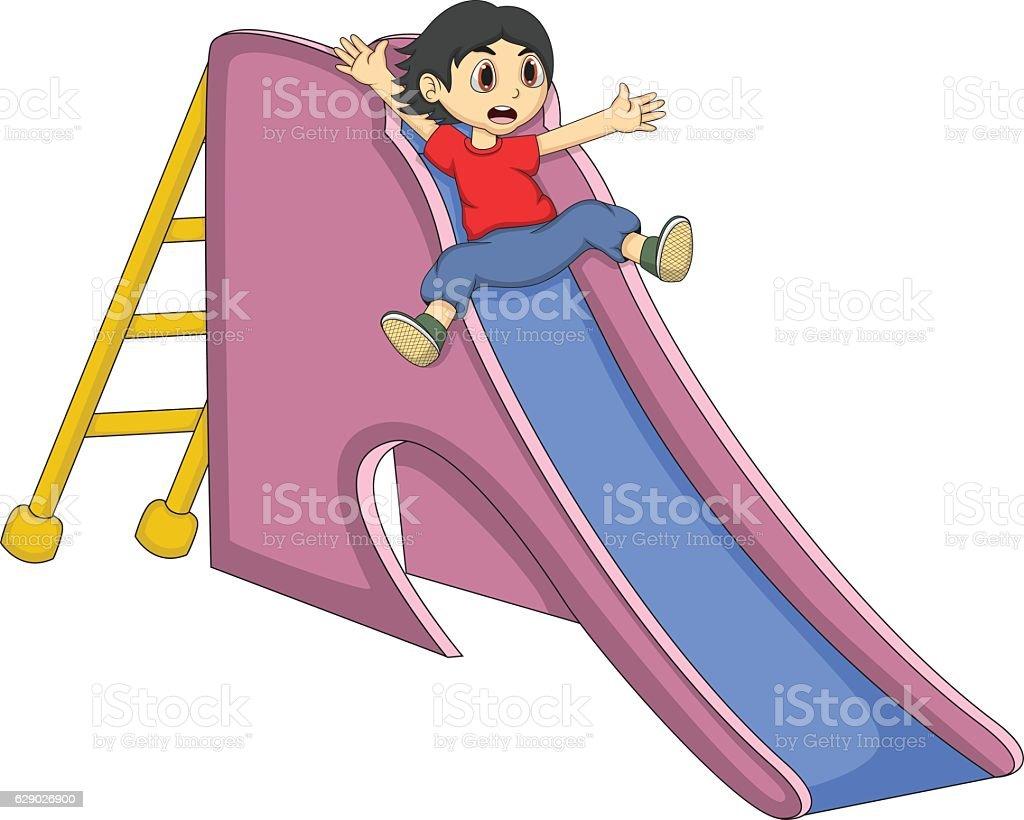 Little boy playing on a slide cartoon vector art illustration