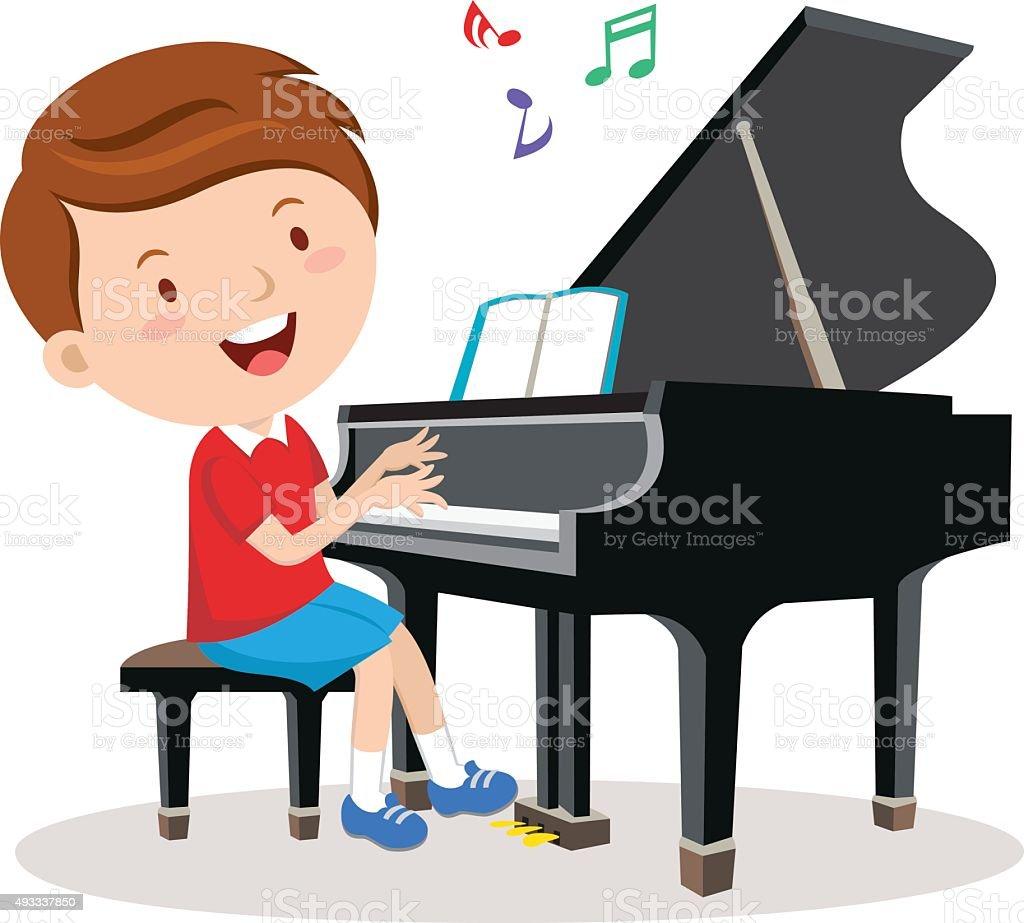 Little boy playing piano vector art illustration