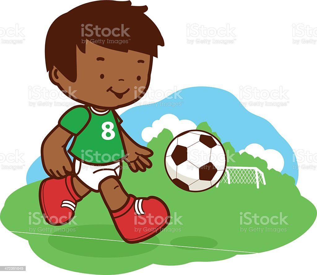 Little boy playing soccer royalty-free stock vector art