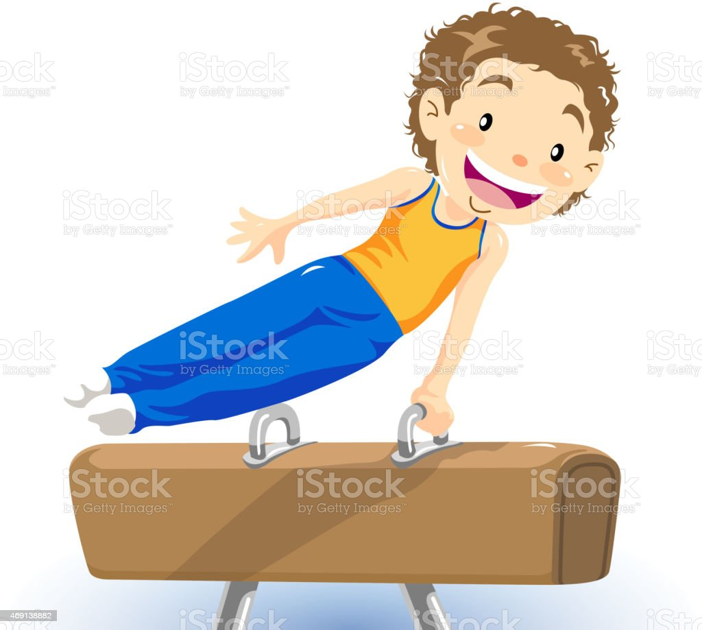 Little boy pommel horse gymnastics‎ vector art illustration