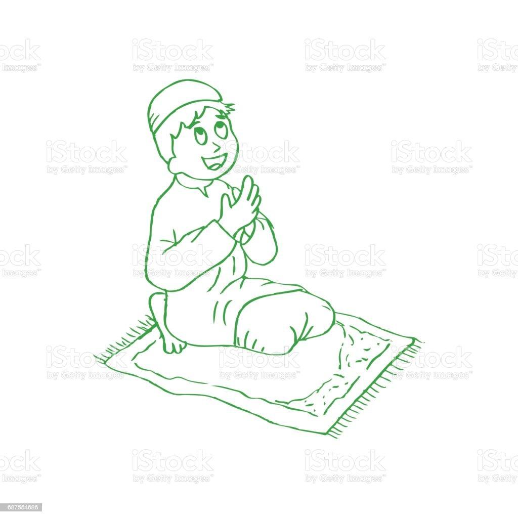 Little boy praying vector art illustration