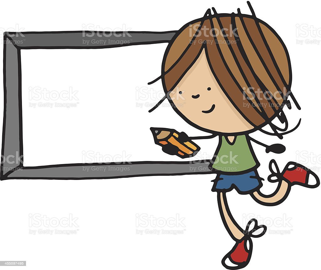 Little boy running with a pencil and chalk board royalty-free stock vector art