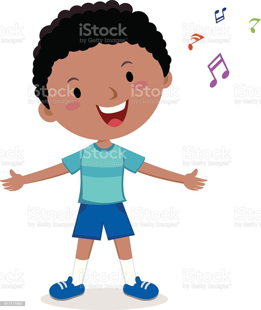 Little boy singing vector art illustration