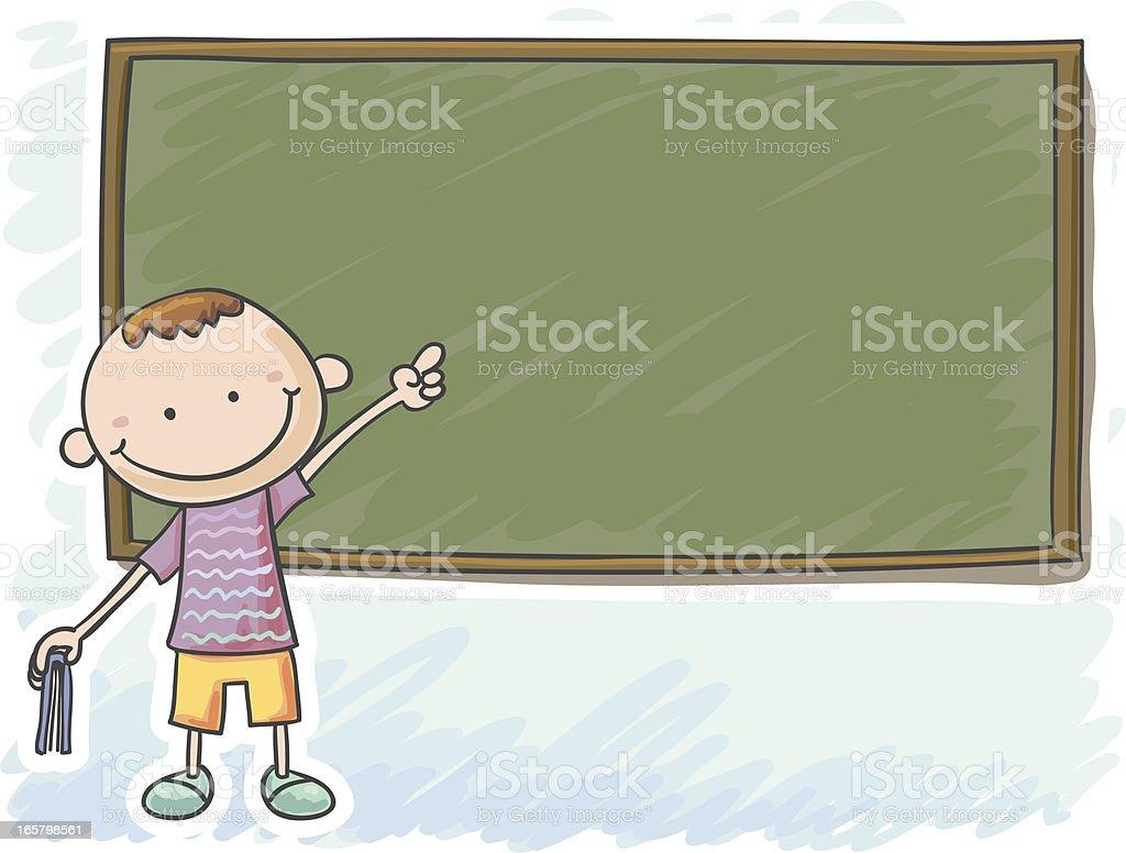 Little boy standing in front of the blackboard royalty-free stock vector art