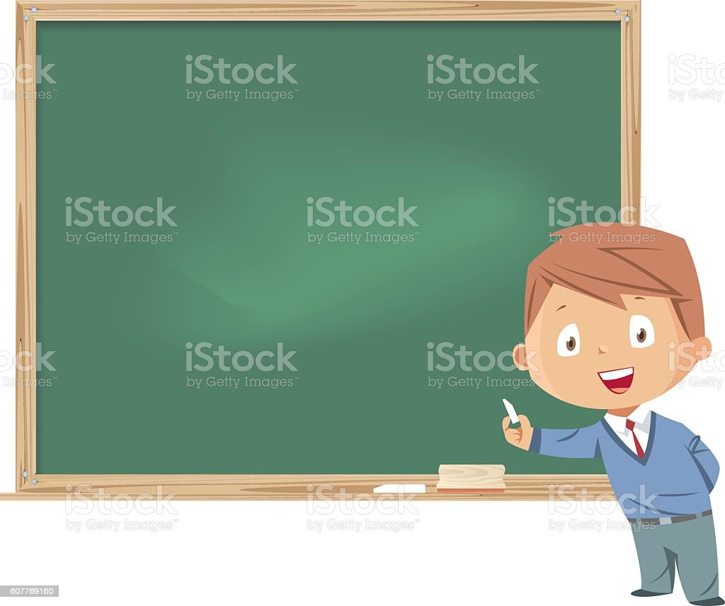 Little boy standing in front of the blackboard vector art illustration