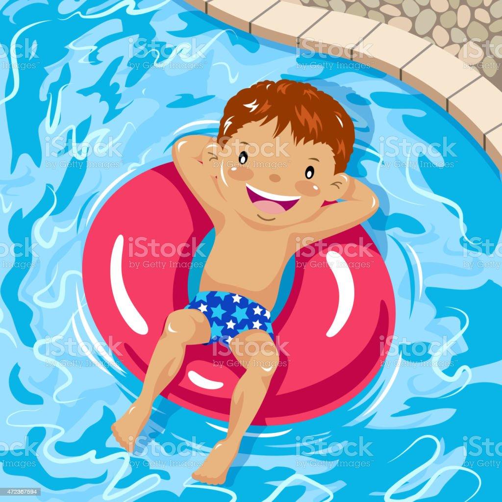 Little boy sunbathing on inner tube in swimming pool vector art illustration
