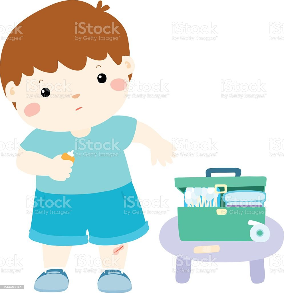 little boy takes care of his wound by himself illustration vector art illustration