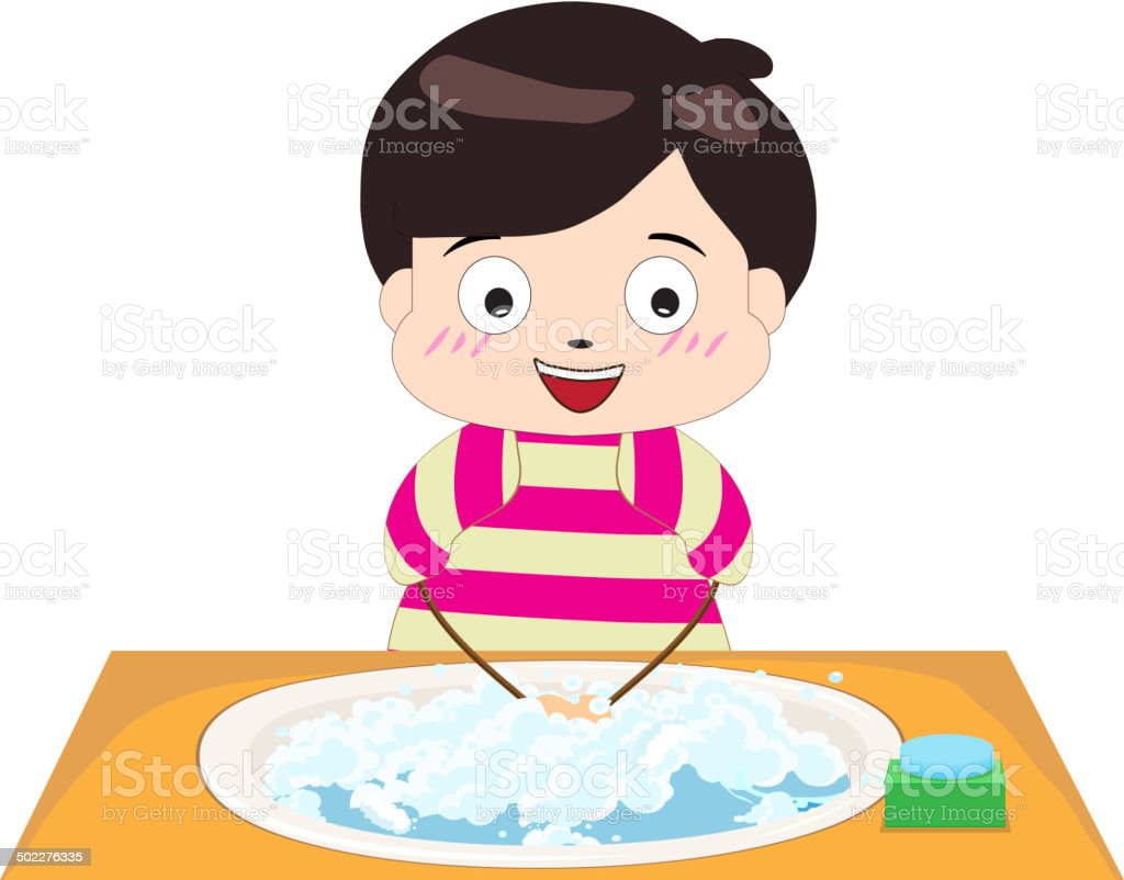little boy washing his hands vector art illustration
