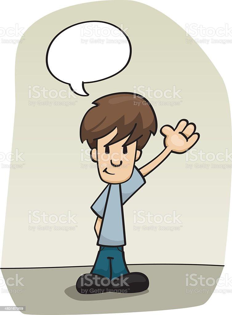 Little Boy Waving a Hello Greeting royalty-free stock vector art