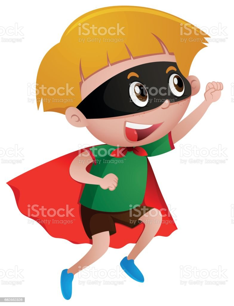 Little boy wearing mask and cape vector art illustration