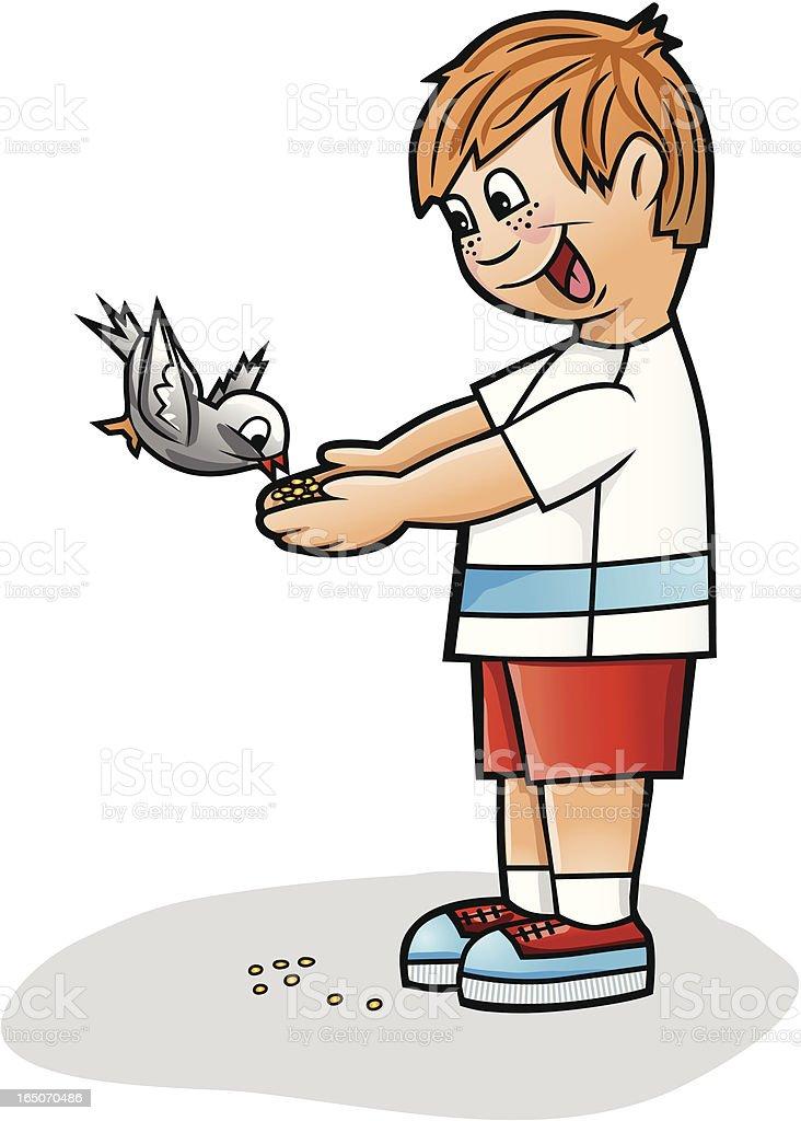 Little boy with a bird royalty-free stock vector art