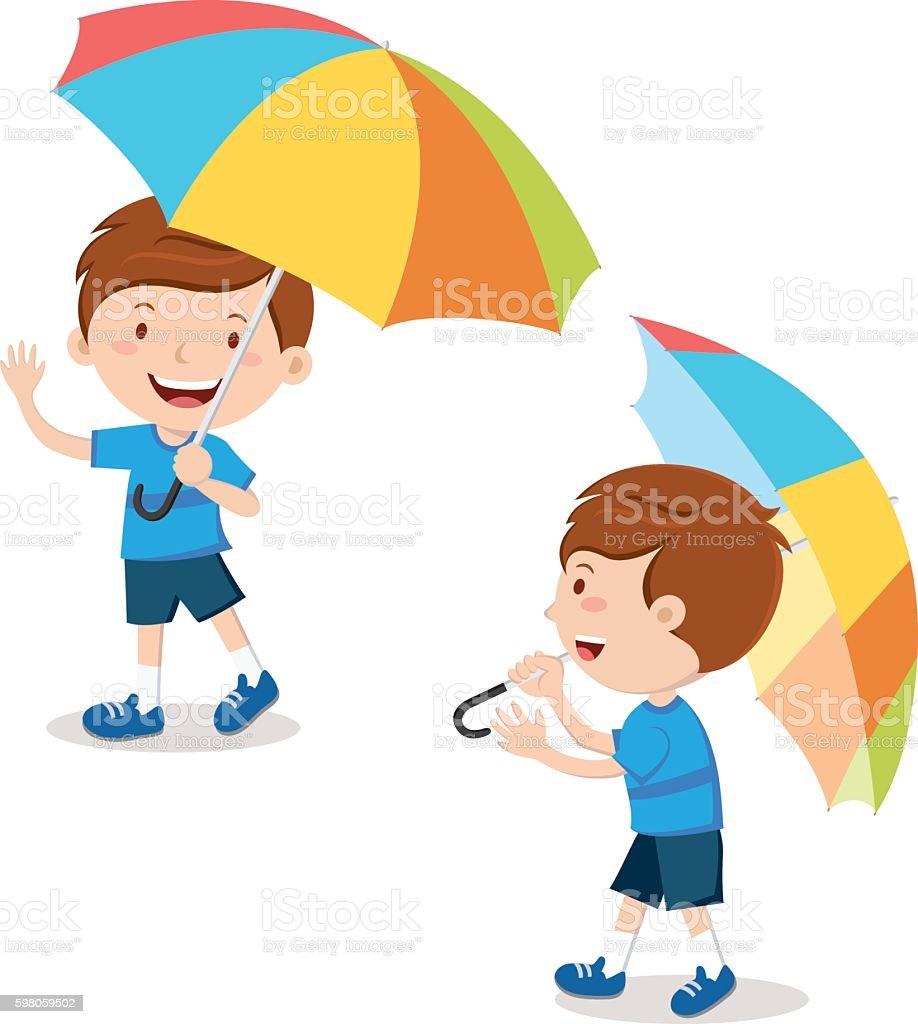 Little boy with multicolor umbrella vector art illustration