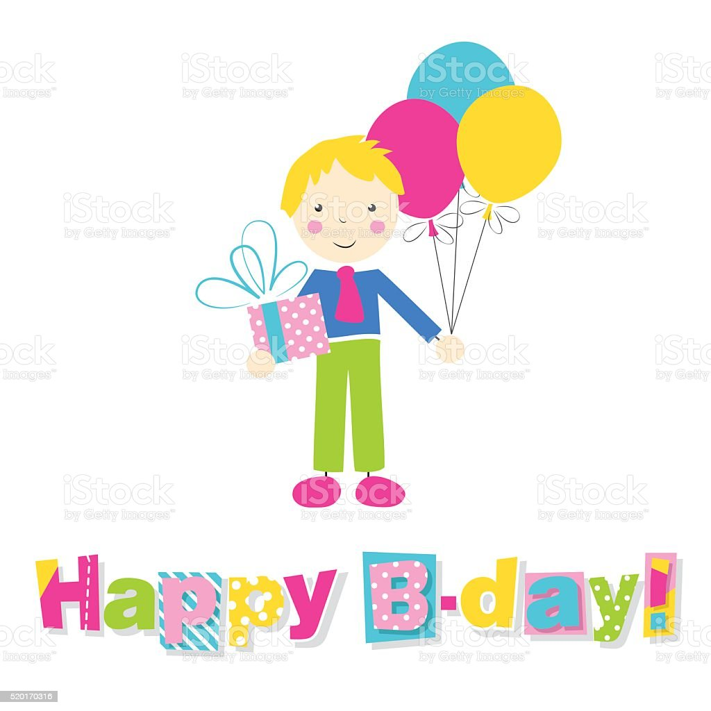 little boy with present, balloons and happy birthday typography vector art illustration
