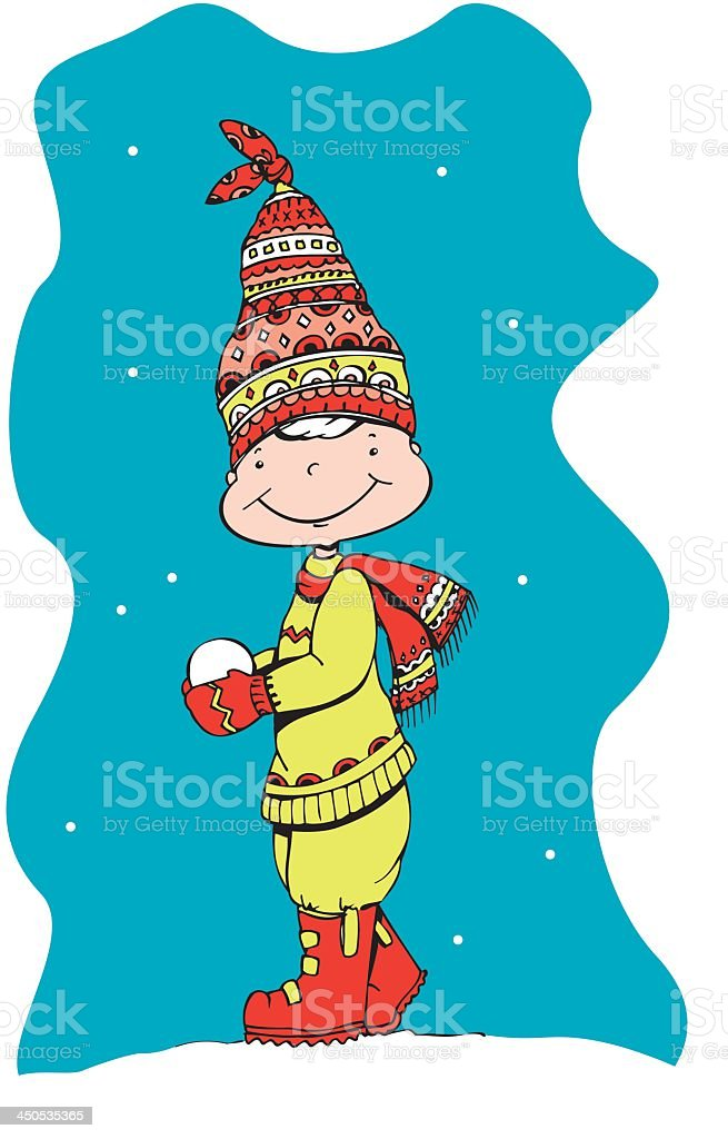 Little Boy With Snowball royalty-free stock vector art