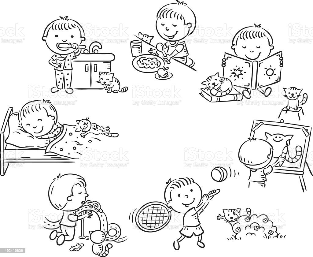 Little boy's daily activities, black and white outline vector art illustration