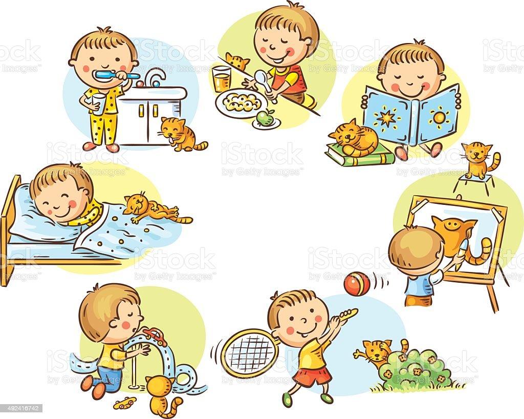 Little boy's daily activities vector art illustration