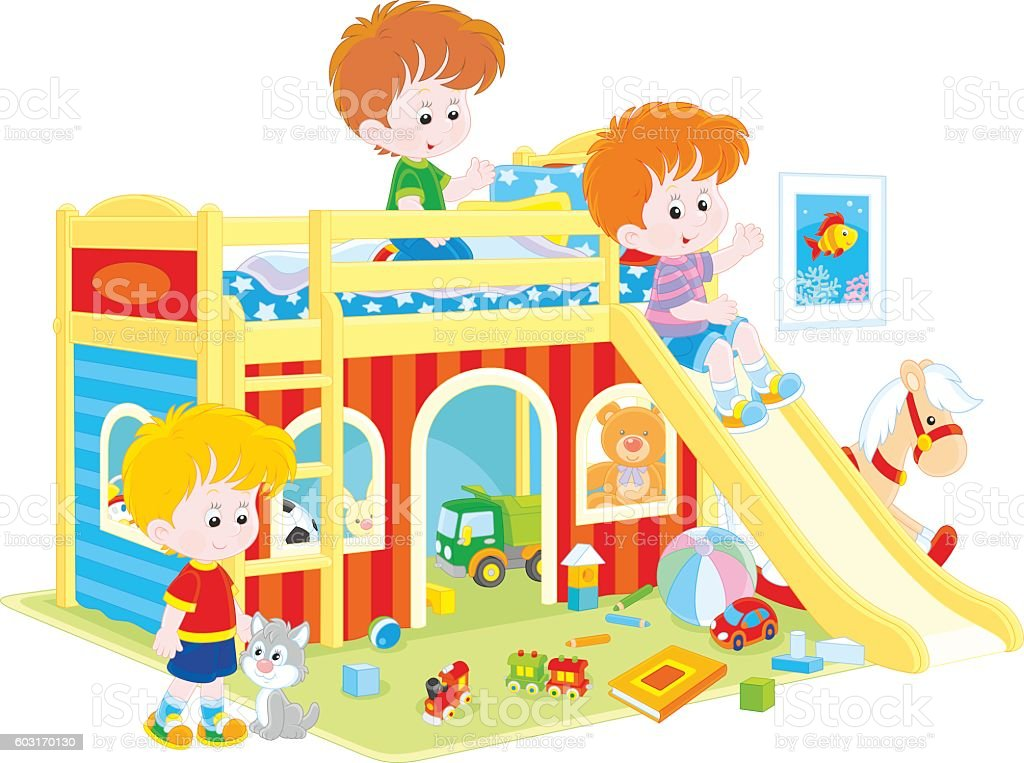 Little boys playing vector art illustration
