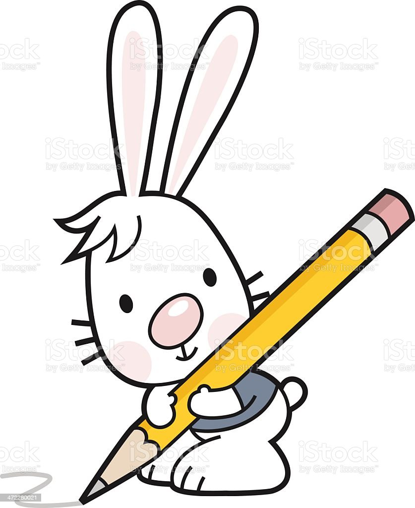 little bunny with pencil vector art illustration