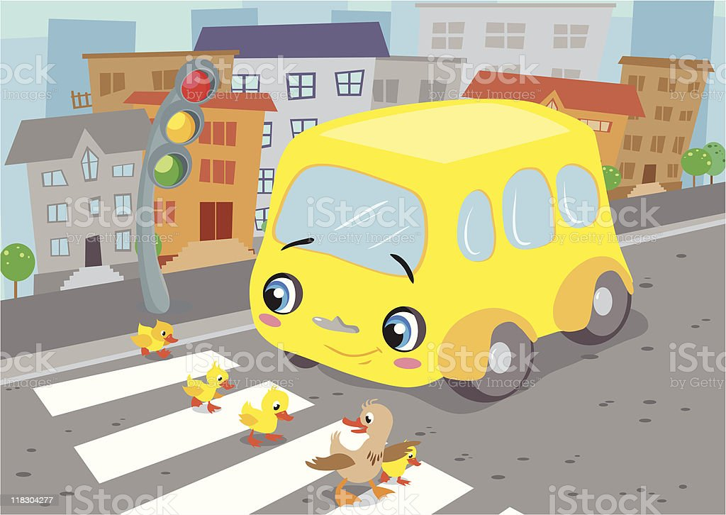 Little bus and duck family royalty-free stock vector art
