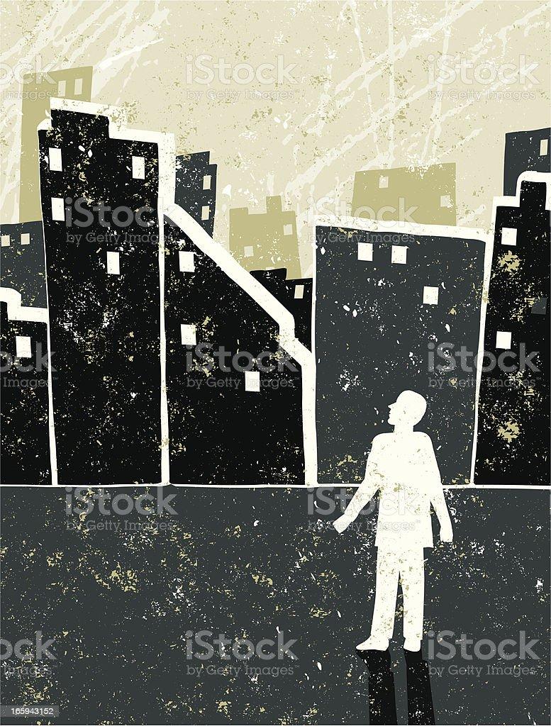 Little Businessman' Alone Against a City Skyline royalty-free stock vector art