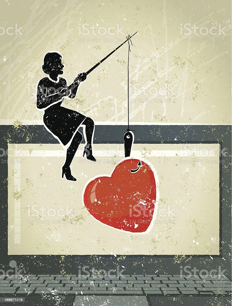 Little Businesswoman Fishing for Love on Computer vector art illustration