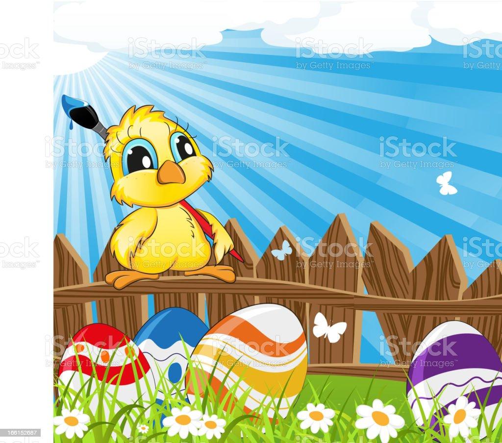 Little cartoon chicken with paintbrush royalty-free stock vector art