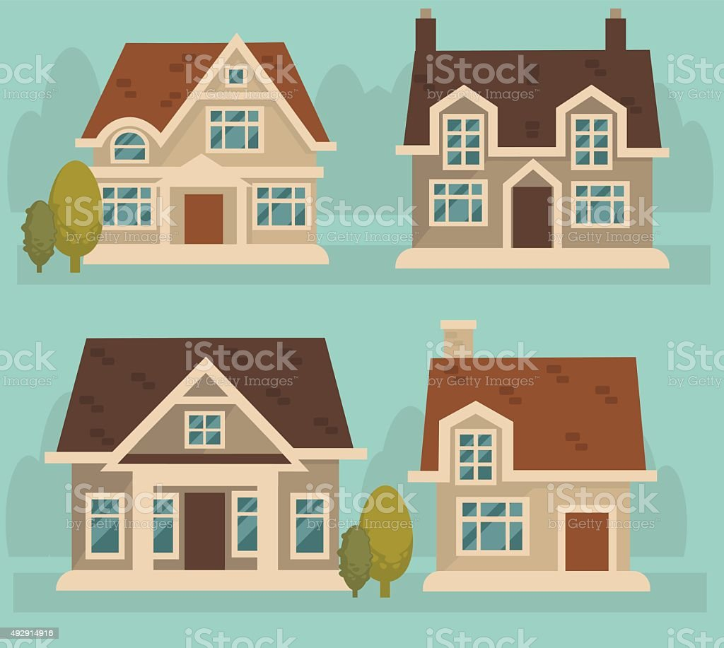 little cartoon cottage collection vector art illustration