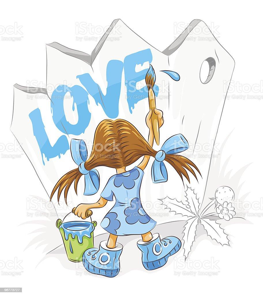 little cartoon girl with paint brush drawing love vector art illustration