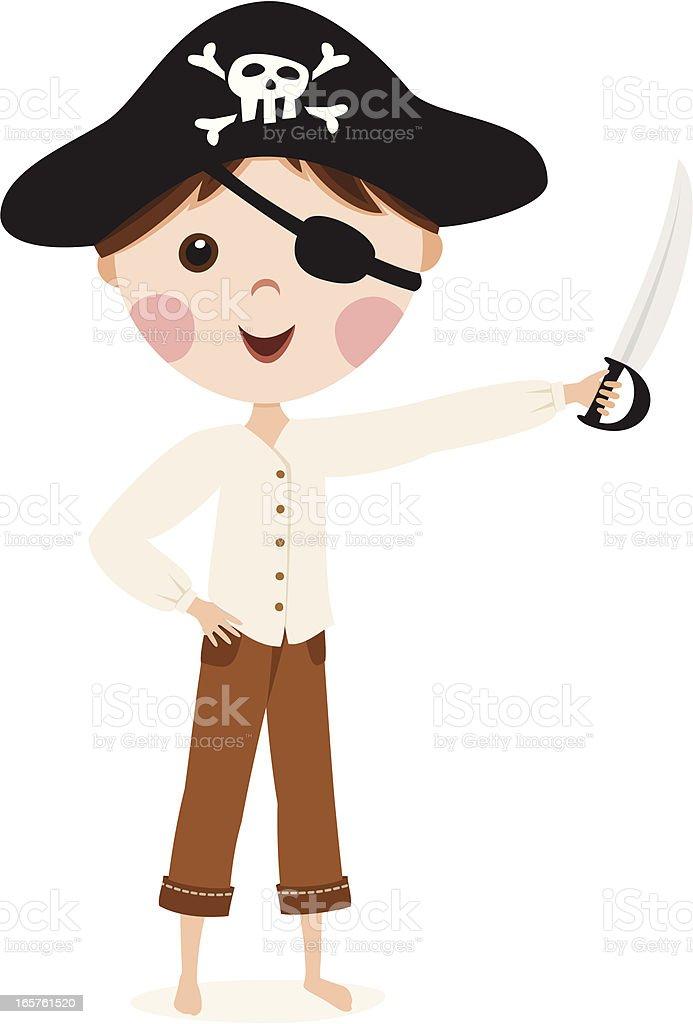 Little cartoon pirate boy royalty-free stock vector art