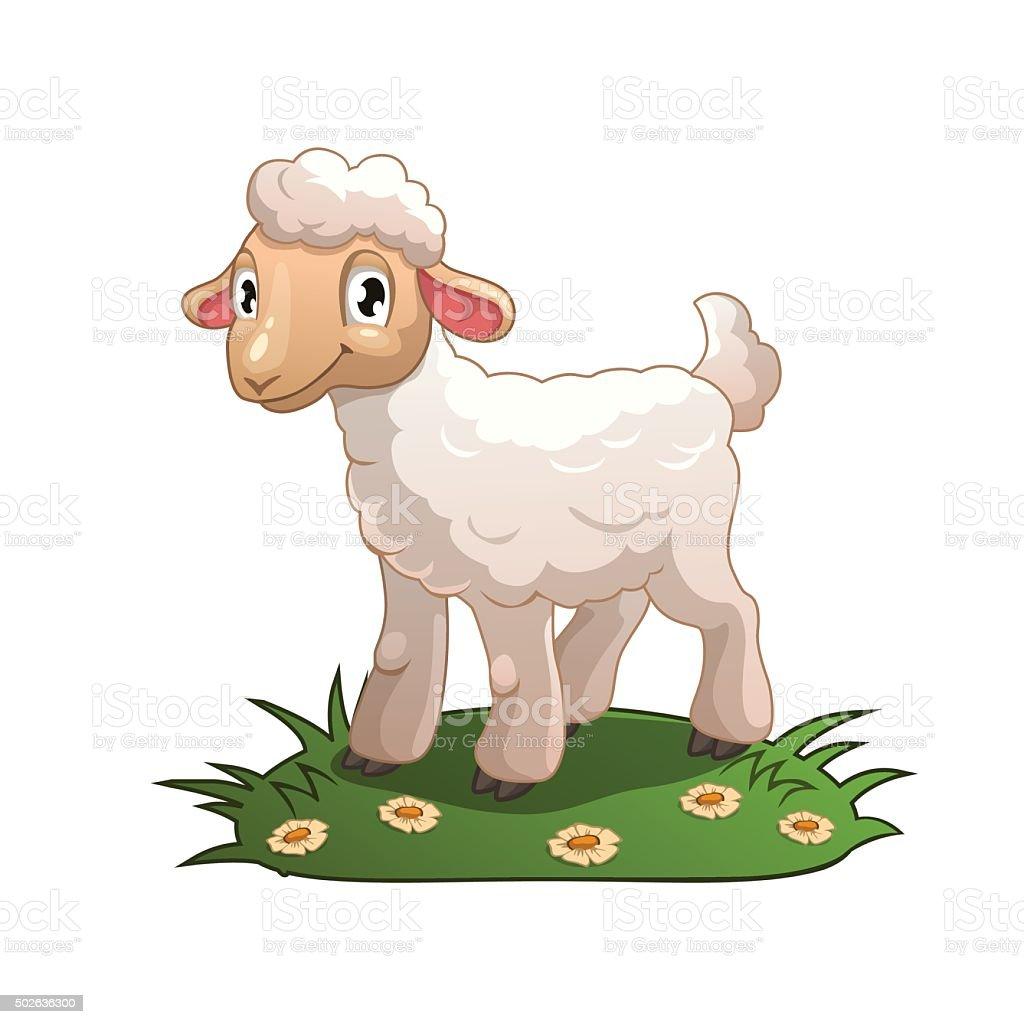 Little cartoon white lamb vector art illustration