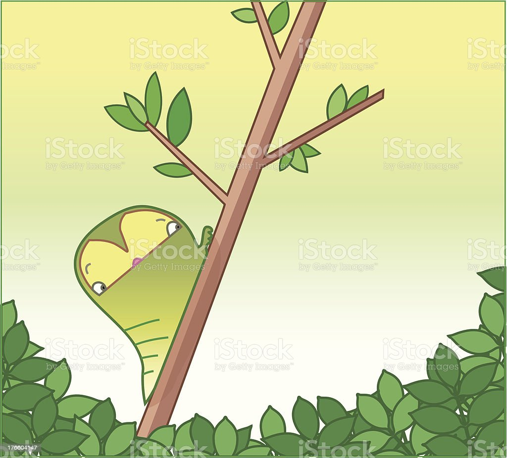 little caterpillar on a tree. royalty-free stock vector art