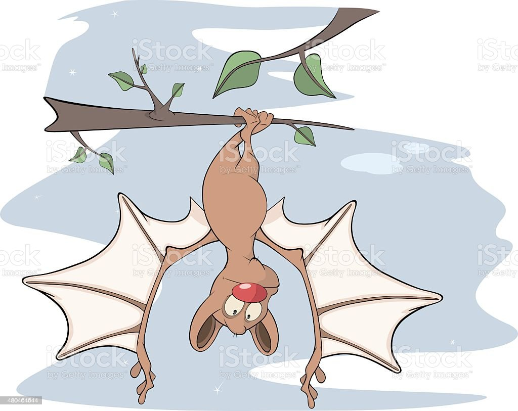 Little cheerful bat  Cartoon vector art illustration