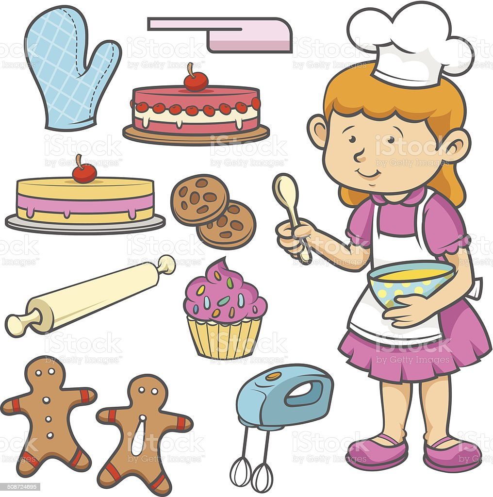 Little Chef and Cookies vector art illustration