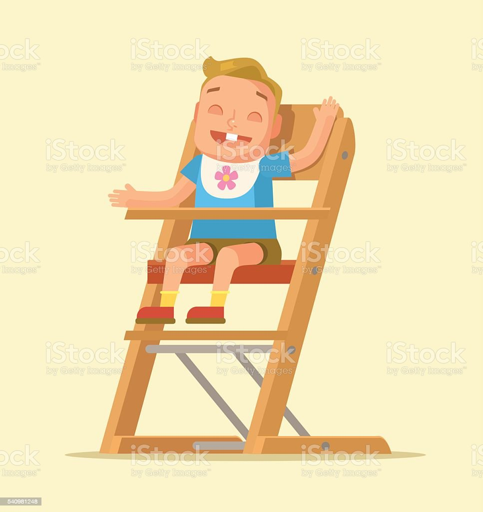 Stuhl comic  Kleines Kind Sitzen Auf Stuhl Flache Comic Vektorillustration ...