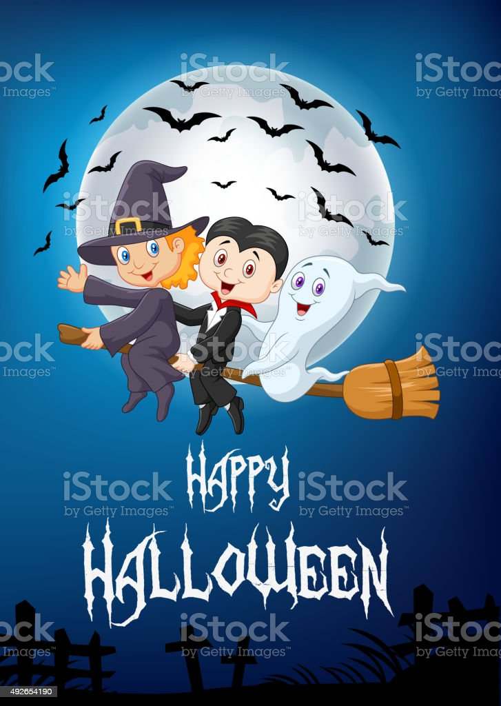 Little children and ghost fly with broom vector art illustration