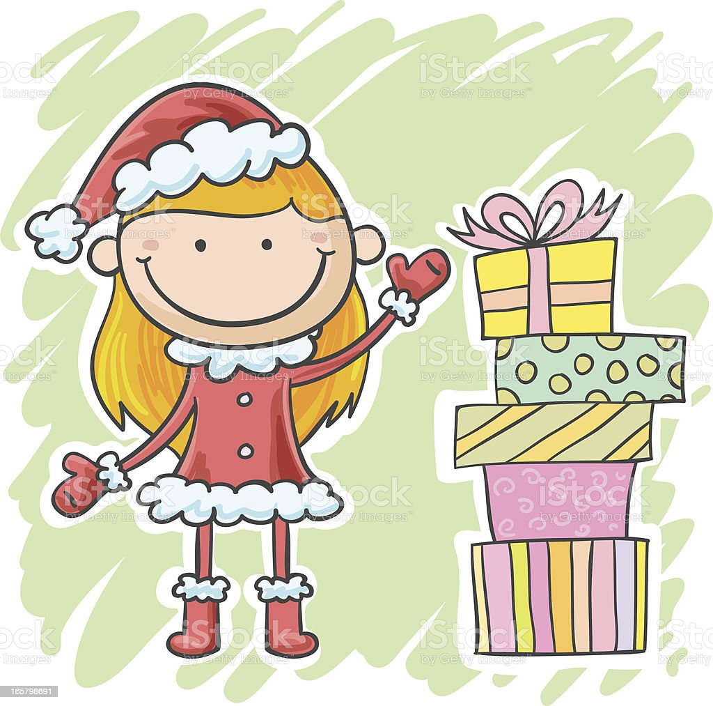 Little christmas girl with many presents vector art illustration