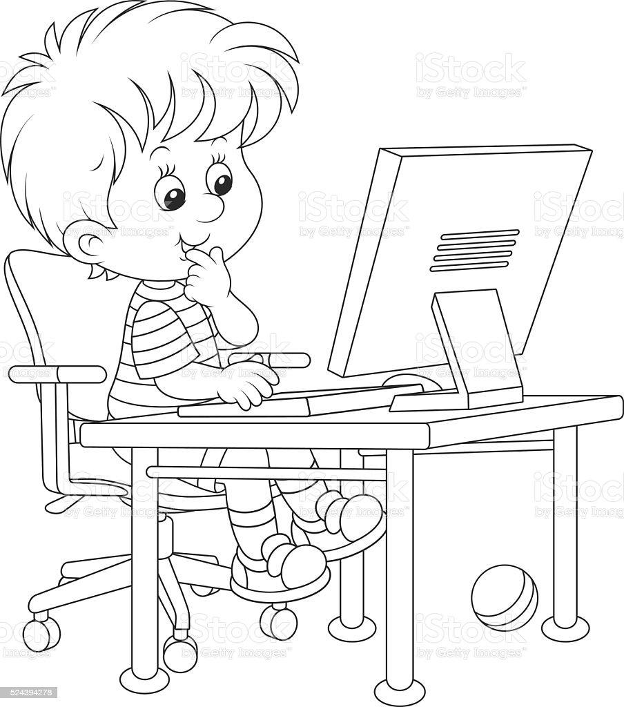 Little computer gamer vector art illustration
